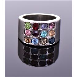 Vintage Multi Color Stone Sterling Silver Ring. Si