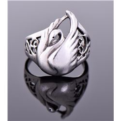 Vintage Sterling Silver Swan Ring. Silver Tested.