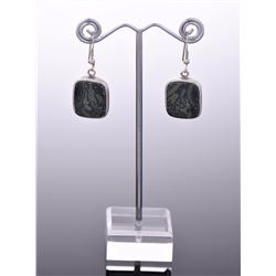 vintage Sterling Silver Granite Stone Earrings. Es