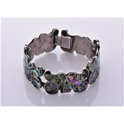 Sterling Silver Abalone shell bracelet Estimated m