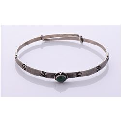 Sterling Silver Malachite stone bracelet Estimated