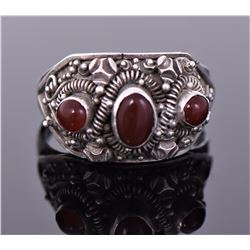 Vintage Ruby Sterling Silver Ring. Silver Tested.
