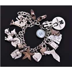 Vintage Sterling Silver Charm Bracelet with a mix