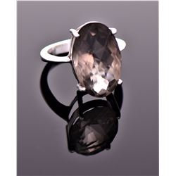 Vintage Smokey Quartz Diamond Cut Sterling Silver