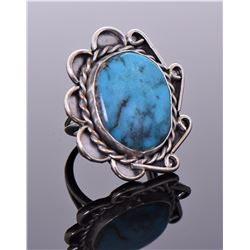 Native American Blue Turquoise Sterling Silver Rin
