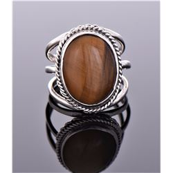 Tiger's Eye Sterling Silver Ring With Three Bar Sh