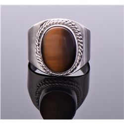 Tiger's Eye Sterling Silver Ring With Rope Design.