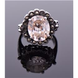 Vintage Morganite Sterling Silver Ring. Silver Tes