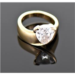 Vintage Trillion Cut CZ Diamond Gold Over Sterling