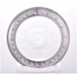 Sterling Silver Glass Dish. Weight: 4.35 oz. Estim