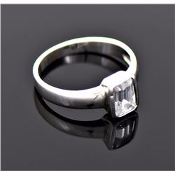 Vintage Emerald Cut CZ Diamond Gold Over Sterling
