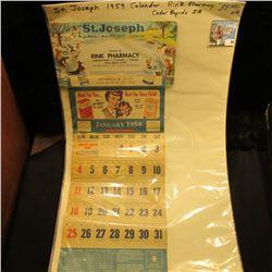 "1959 St. Joseph Almanac*Weather Chart*Calendar…Cedar Rapids, Iowa""."