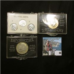 Pair of 1964 D Silver Kennedy Half-Dollars each in special plastic cases; & 1943 P, D, & S U.S. Stee