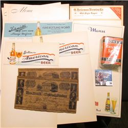 "Stationery: ""Baltimore American Beer"" (3 pcs.); menu ""Blatz Old Heidelberg Beer For Those Who Want t"