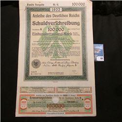 """1922 """"Anleihe des Deutschen Reichs Schuldverschreibung"""" (Bond of the German Reich debt) 100,000 Mark"""