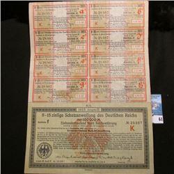 """1923 Bond """"8-15 zinfige Schatzanweifung des Deutfchen Reichs uber 100000 M"""""""