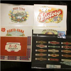 (5) Different, very colorful Cigar Box labels in mint condition & a set of (15) different Mint condi