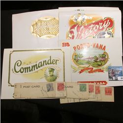 (5) Different, very colorful Cigar Box labels in mint condition & a group of (10) 1920 era Motorcycl