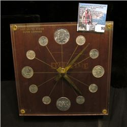 "Coin Clock, (no battery) titled ""Last United States Silver Coinage"", contains a pair of 1964 Kennedy"