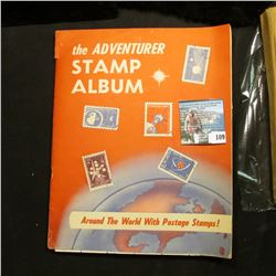 """The Adventurer Stamp Album Around the World with Postage Stamps!"", contains lots of World Stamps."