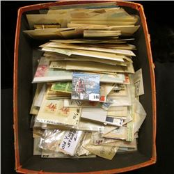 Shoe box full of Old Stamps including Mint and Unused, as well as cancelled, Includes a mint Block o