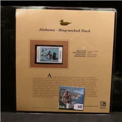 2004 Alabama $5 Waterfowl Stamp in mint, unused Pristine condition in a neat plastic page with liter