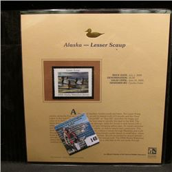 2004 Alaska $5 Waterfowl Stamp in mint, unused Pristine condition in a neat plastic page with litera