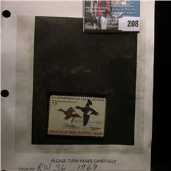 1969 RW36 U.S. Department of the Interior Migratory Bird Hunting Stamp, original gum, LL Corner plat
