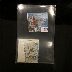 1974 RW41 U.S. Department of the Interior Migratory Bird Hunting Stamp, original gum, LL Corner plat