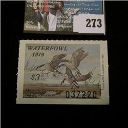 1979 Missouri Department of Conservation Waterfowl Stamp, signed by the original owner of this Estat