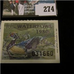1980 Missouri Department of Conservation Waterfowl Stamp, signed by the original owner of this Estat