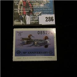 1987 No. 9 Missouri Department of Conservation Waterfowl Stamp, unsigned, NH, Very Fine.