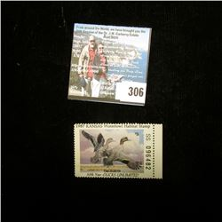 1987 Kansas Waterfowl Habitat Stamp, Mint, Unsigned, perforated edge trim attached.