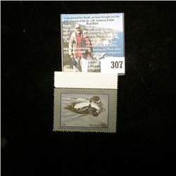 1995 Kansas Waterfowl Habitat Stamp, Mint, Unsigned, perforated edge trim attached.