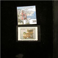 1996 Kansas Waterfowl Habitat Stamp, Mint, Unsigned.