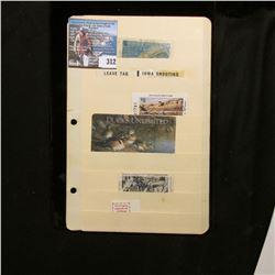 1976 Iowa Trout Stamp, used; Bird Tag for Iowa Shooting Reserve no. 12000; 1991 Iowa $5 Habitat Stam