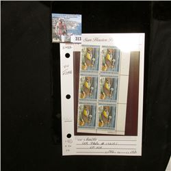 1973 RW40 U.S. Department of the Interior Migratory Bird Hunting Six-stamp Plateblock No. 172101, VF