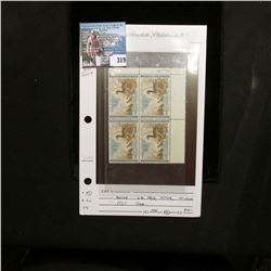 1961 RW28 U.S. Department of the Interior Migratory Bird Hunting Four-stamp Plateblock No. 167772, V