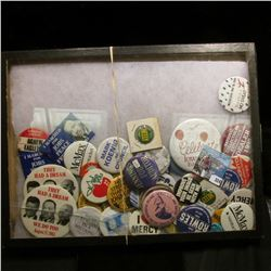 Large group of various Pin-backs. Includes Martin Luther King Jr., Kennedy, and much more. All displ