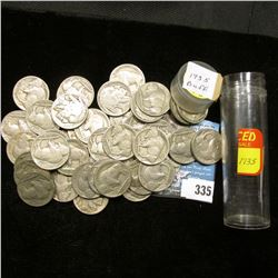 Roll of (43) 1935 dated Buffalo Nickels, all with readable dates in a plastic tube.