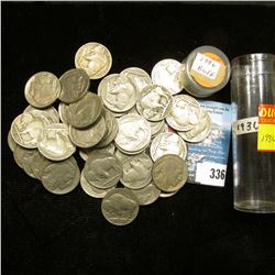 Roll of (43) 1936 dated Buffalo Nickels, all with readable dates in a plastic tube.