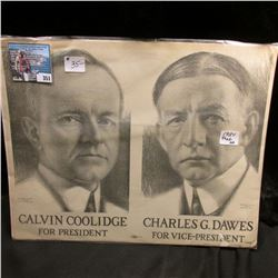 """1924 Campaign Poster """"Calvin Coolidge For President Chalres G. Dawes For Vice-President""""."""