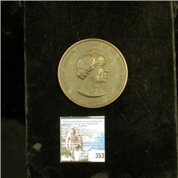 """1865 Large Bronze Indian Peace Medal, 1/4"""" thick and 3"""" in diameter, """"Andrew Johnson President of th"""