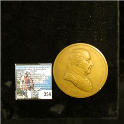 """A.D. 1797 """"John Adams President of the U.S."""", reverse """"Peace and Friendship"""" depicts crossed Tomahaw"""