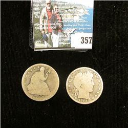 1854 P Arrows at date U.S. Seated Liberty Half-Dollar, AG; & 1898 P U.S. Barber Half-Dollar, AG.