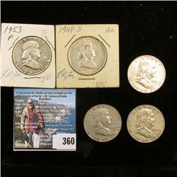 1948P, 48D, 51P, 52P, & 53P Franklin Half Dollars. Grades up to EF.
