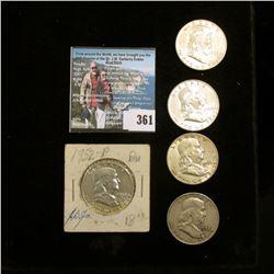 1952P, 53D, 54D, 56P, & 58D Franklin Half Dollars. Grades up to EF.