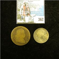 1934 France 10 Francs (Silver); & a large Copper coin dated 1821 (possibly France).