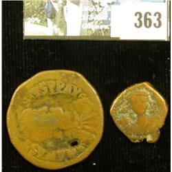 """Pair of Ancient Byzantine Copper Coins, one with a large """"M"""" and the other with a """"K""""."""