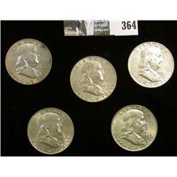 1958D, 60D, 61D, 62D, & 63D Franklin Half Dollars. Grades up to EF.